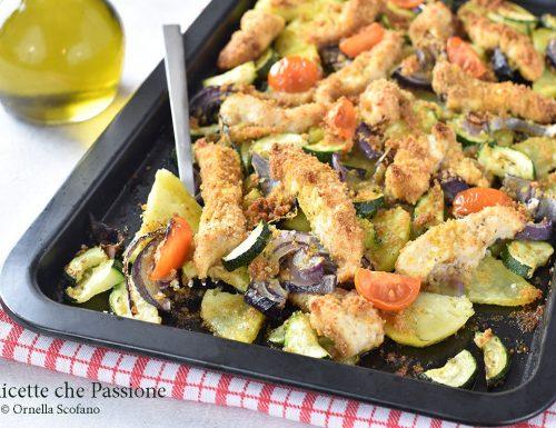 Straccetti di pollo al forno all'ortolana
