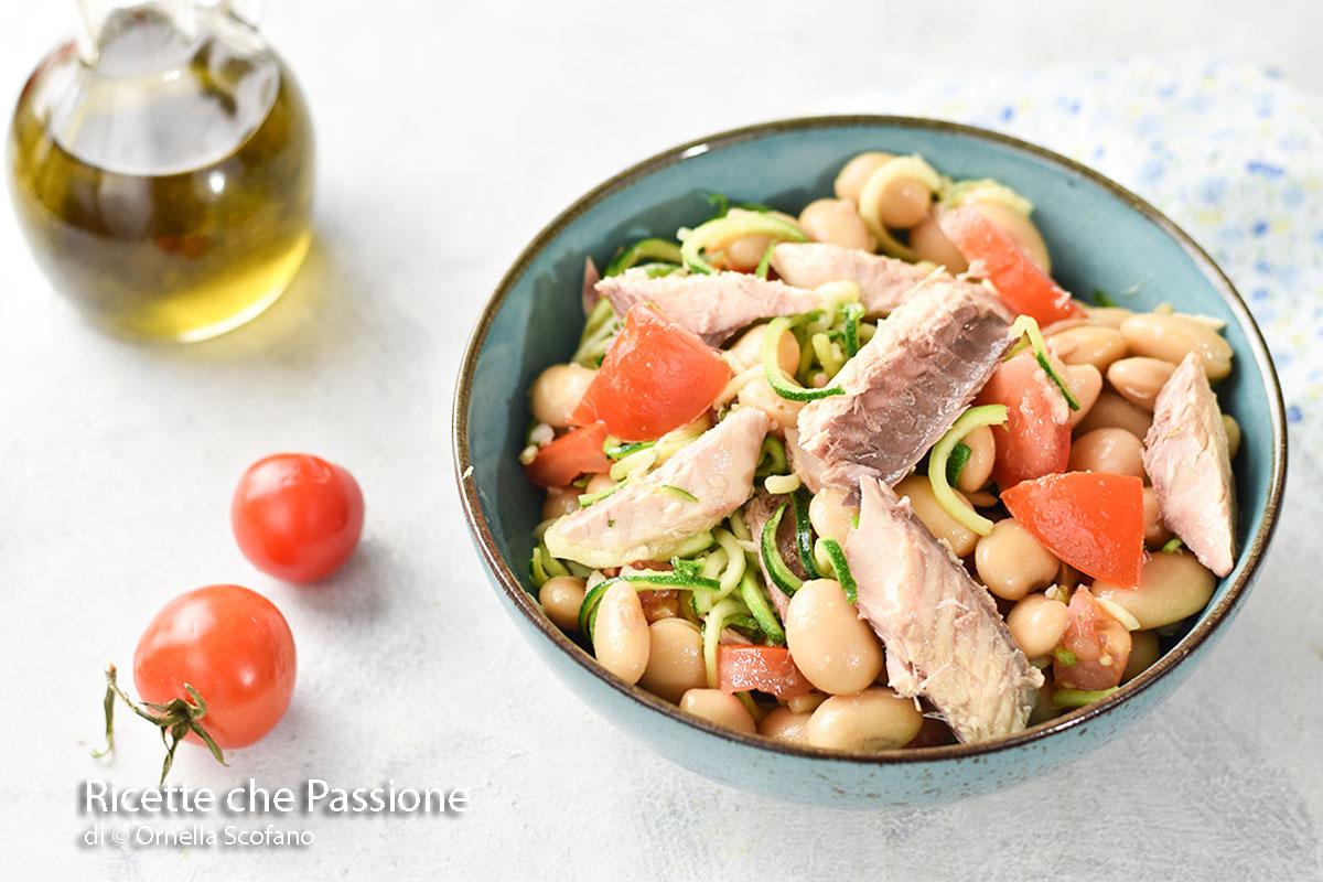 ricetta insalata di fagioli con sgombro e zucchine marinate o