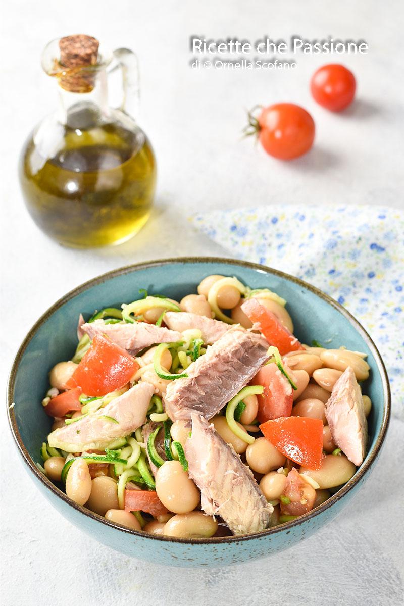 ricetta insalata di fagioli con sgombro e zucchine marinate
