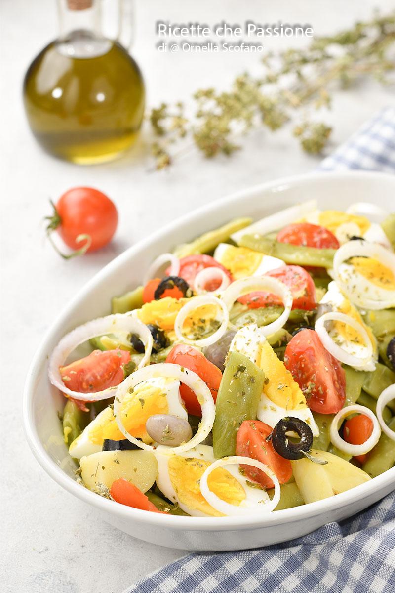 ricetta insalata di fagiolini uova sode e cipolla rossa di Tropea