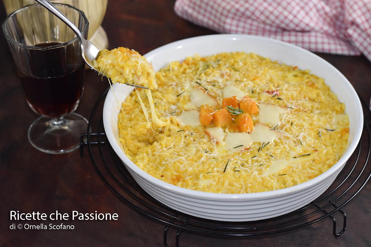 riso al forno ricetta facile ai quattro formaggi con zucca