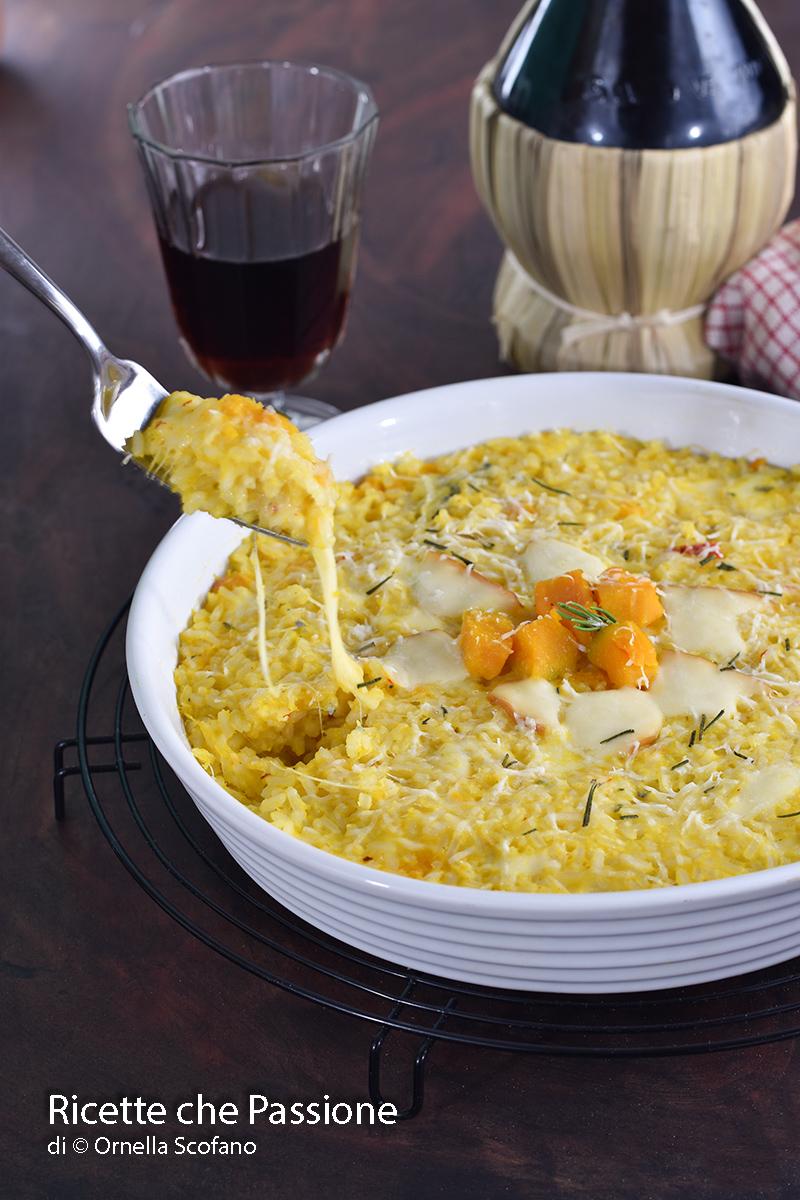 ricetta riso al forno ai 4 formaggi con zucca