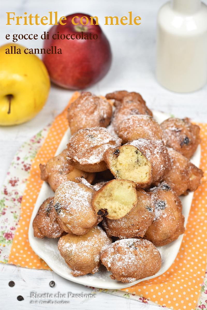 ricetta frittelle alle mele e gocce di cioccolato alla cannella