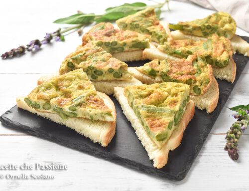 Frittata di asparagi surgelati su crostini