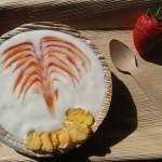 Yogurt fatto in casa con coulis di fragole e corn flakes