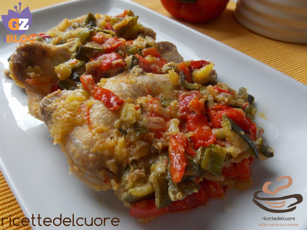 Arista con verdure gratinate in padella