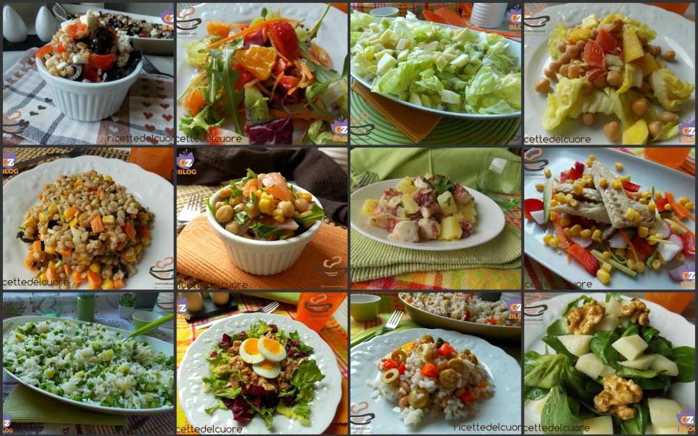 Raccolta di insalate e piatti freddi