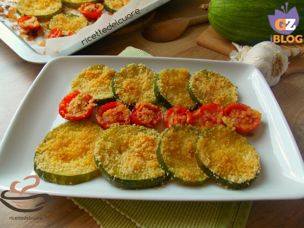 Zucchine e pomodorini gratinati al forno
