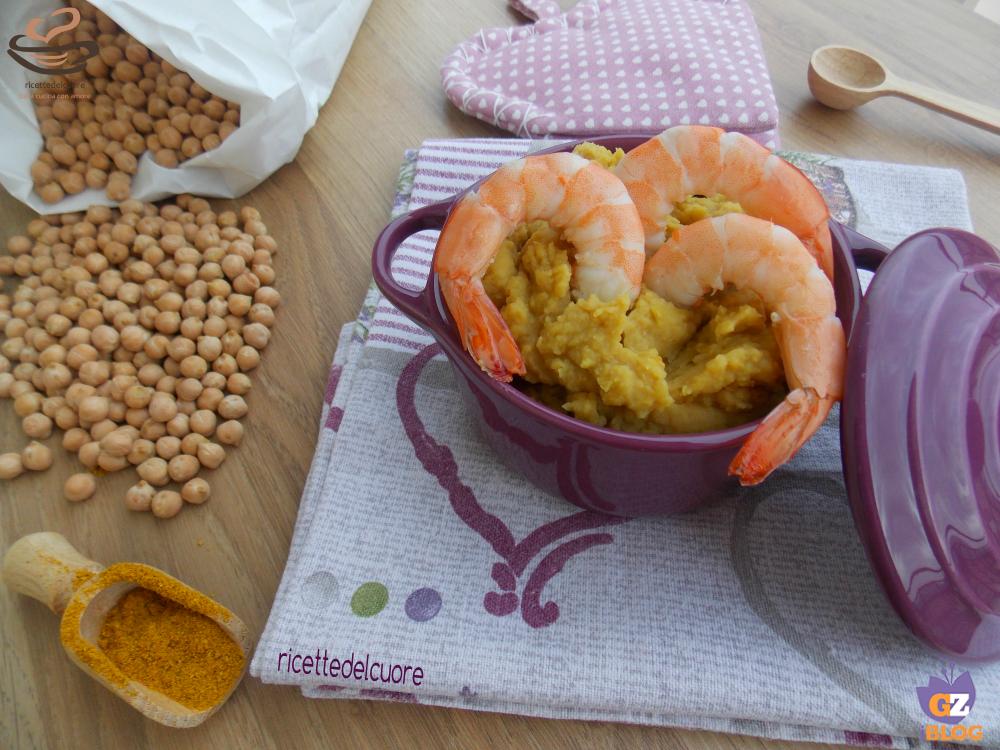 Crema di ceci al curry con gamberetti