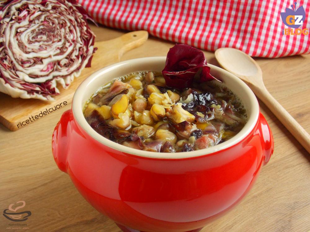Zuppa di cicerchie con radicchio rosso e pancetta