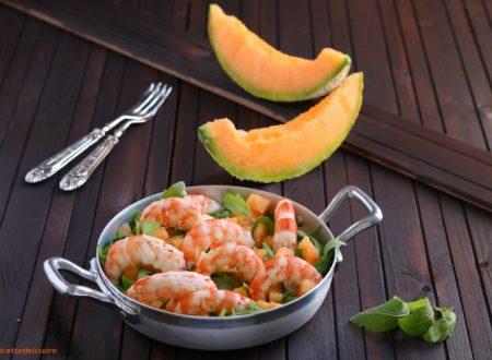 Gamberoni in insalata con rucola e melone