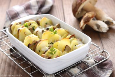 Patate e porcini gratinati al forno