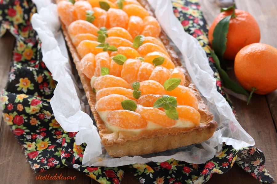 Crostata con crema pasticcera e clementine