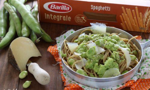 Spaghetti integrali fave e pecorino