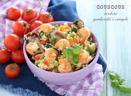 Cous cous verdure gamberetti e vongole