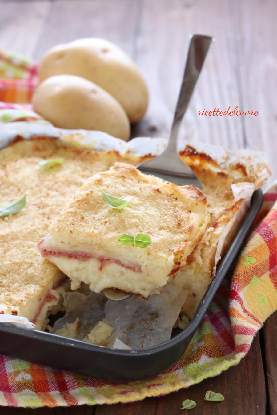 Gateau Di Patate Con Salame E Formaggio Scamorza Ricettedelcuore