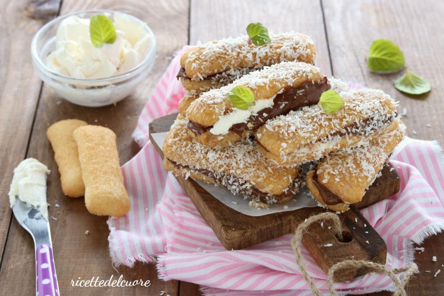 Pavesini con mascarpone nutella e cocco