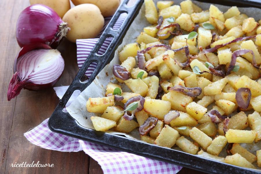 Patate e cipolle gratinate