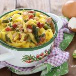 Tagliatelle in carbonara di asparagi e pancetta