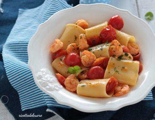 Paccheri pomodorini e gamberetti