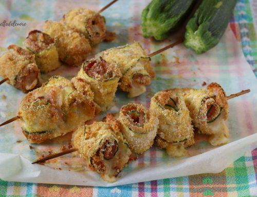 Spiedini di zucchine al forno cotto e provola RICETTA secondo gustoso