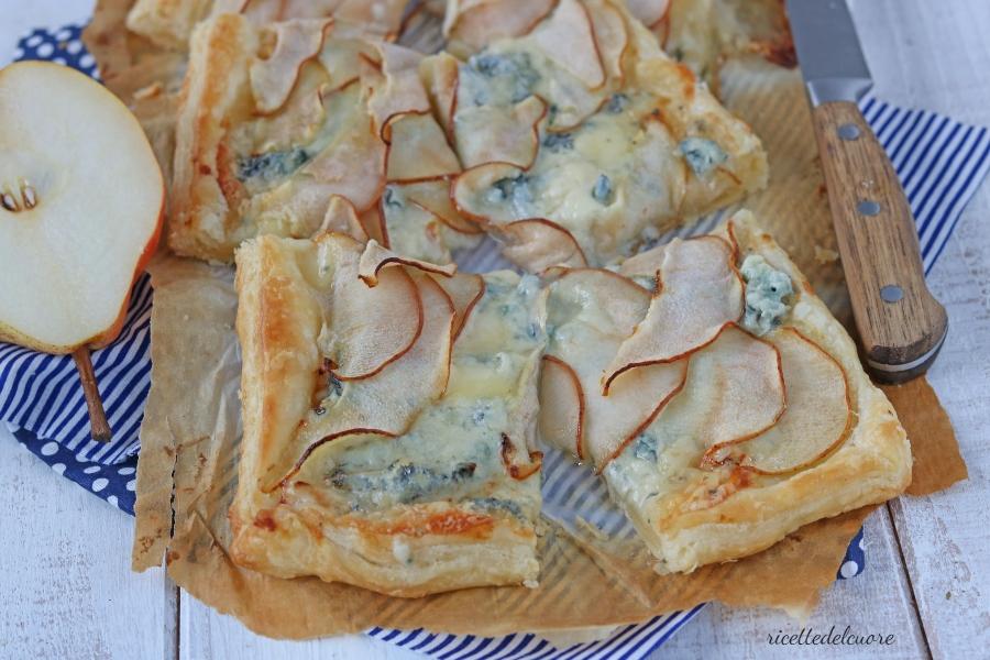 Torta salata pere e gorgonzola
