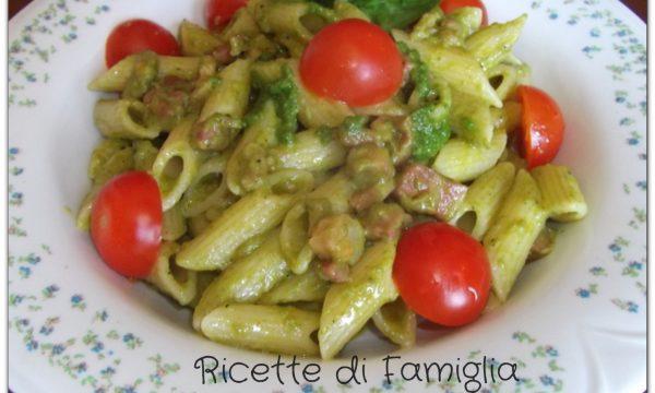 Penne 3P: Pesto Pomodorini e Pancetta