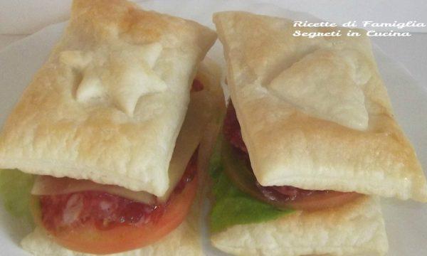 Panini di sfoglia con salame formaggio e verdure