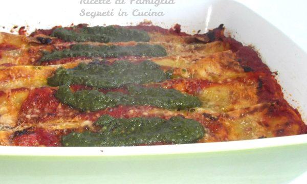 Cannelloni Melanzane e Ricotta con Pomodoro e Pesto