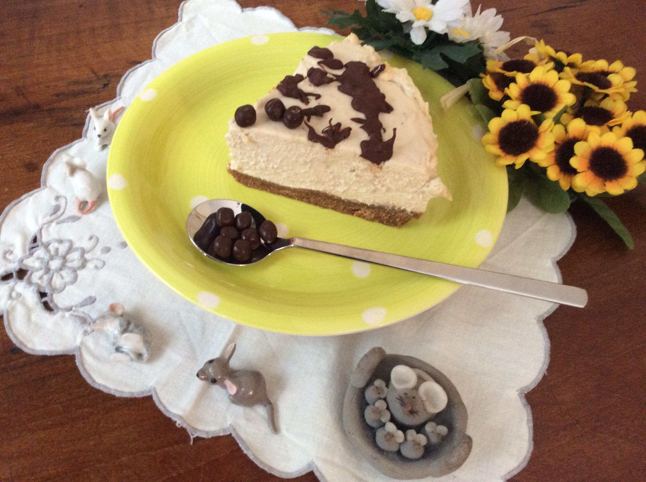 cheesecake al caffè senza cottura fetta