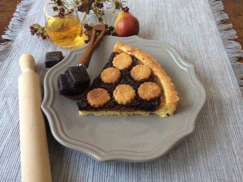 Crostata con composta di pere e cioccolato al rum