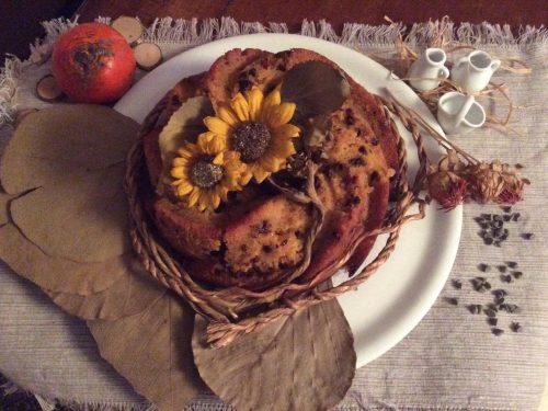 Torta di cachi vaniglia e gocce di cioccolato