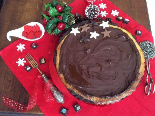 Frolla croccante al cacao con crema al formaggio e cioccolato