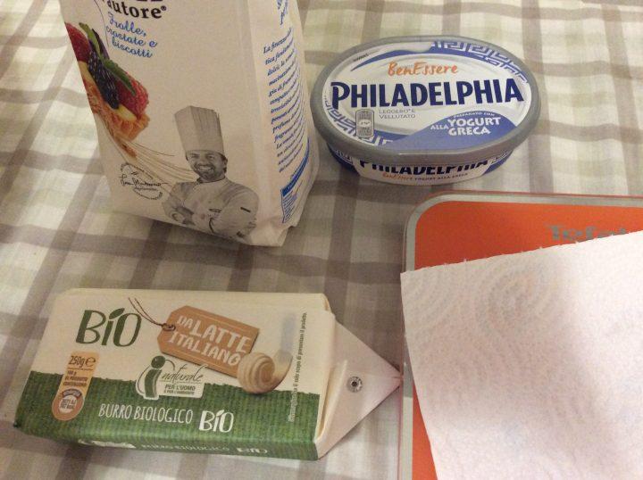 ingredienti pasta frolla al philadelphia