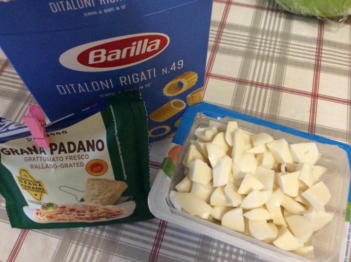 Ingredienti per pasta patate e provola