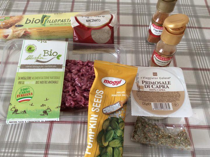 Ingredienti per burek di carne e zucchine