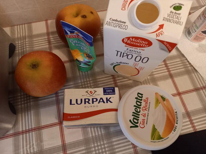 ingredienti Frolla al cocco con crema di ricotta e mele