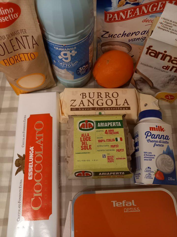 Ingredienti per Cuori al cacao crema all'arancia e ganache al cioccolato