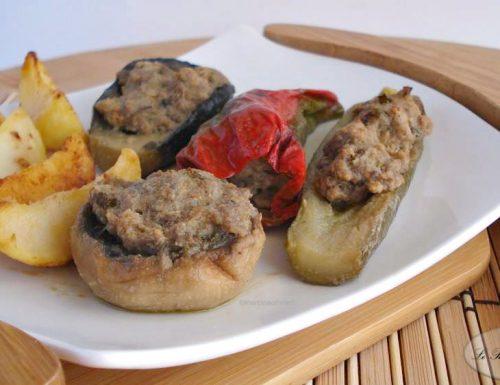 Verdure ripiene con patate al forno