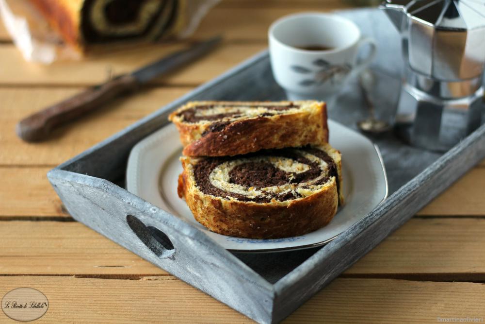 Pan brioche variegato alla zucca e cacao