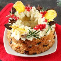 Cream tart natalizia con il panettone