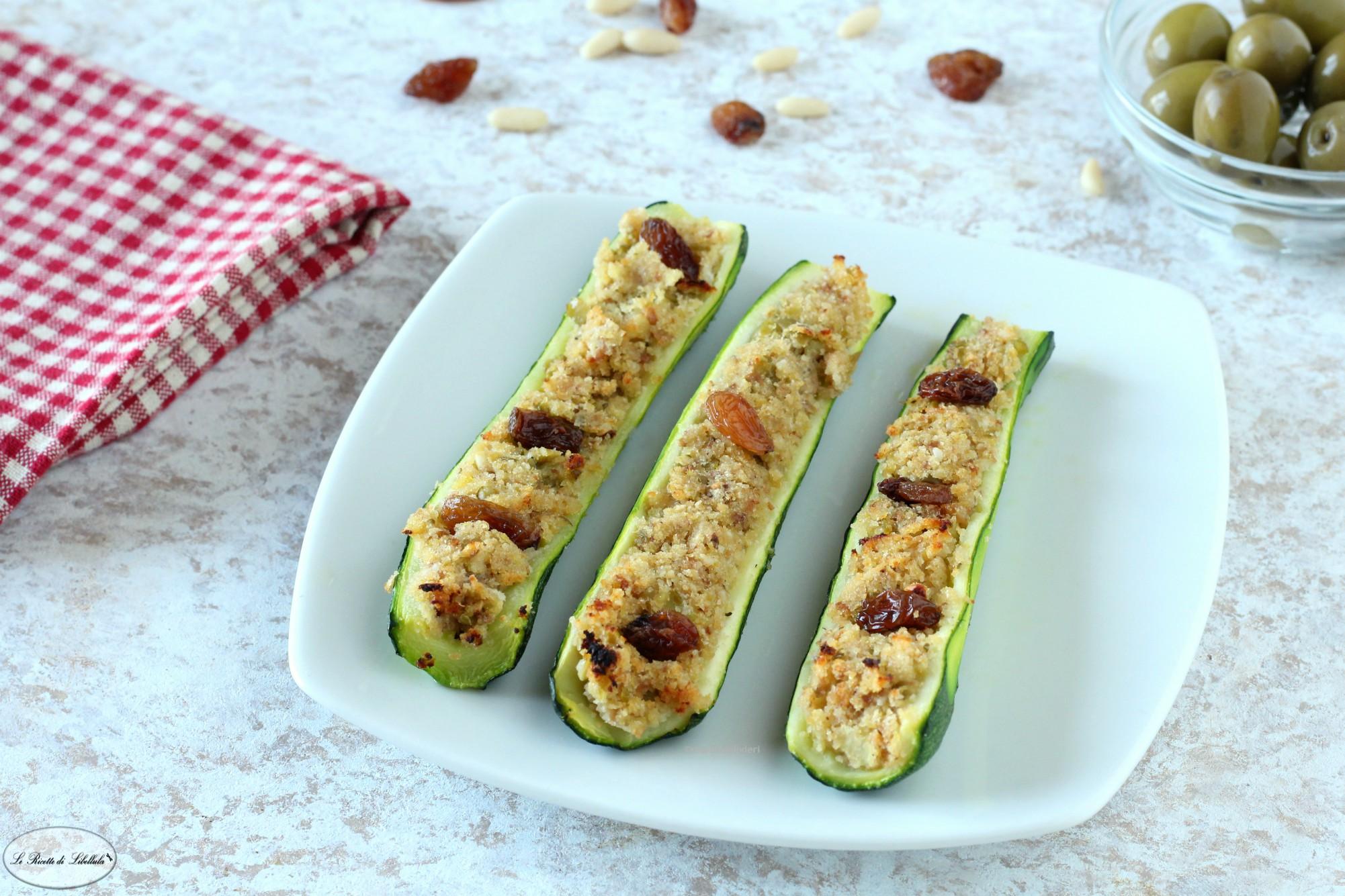 Zucchine ripiene con pinoli e uvetta
