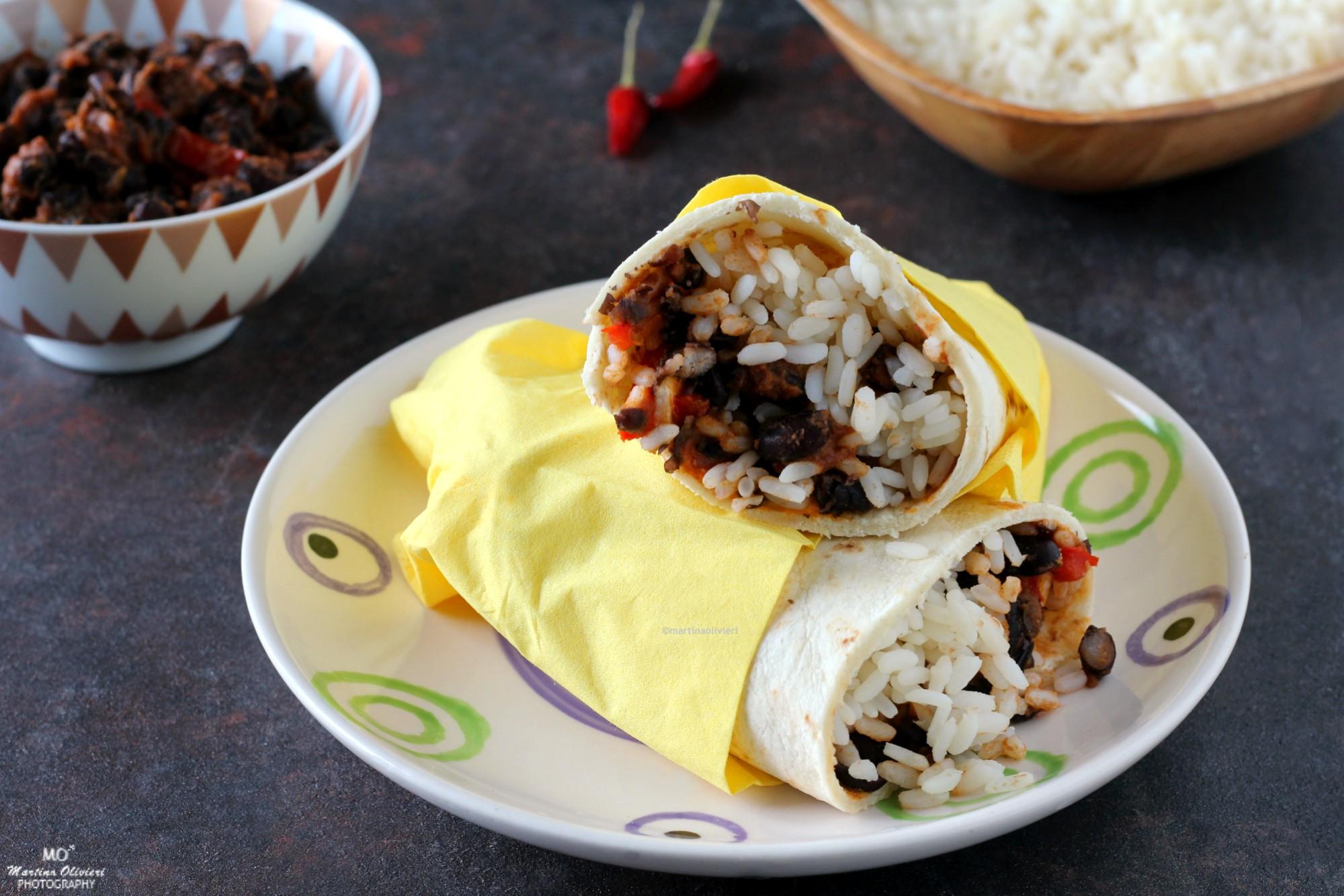 Burrito con riso e chili