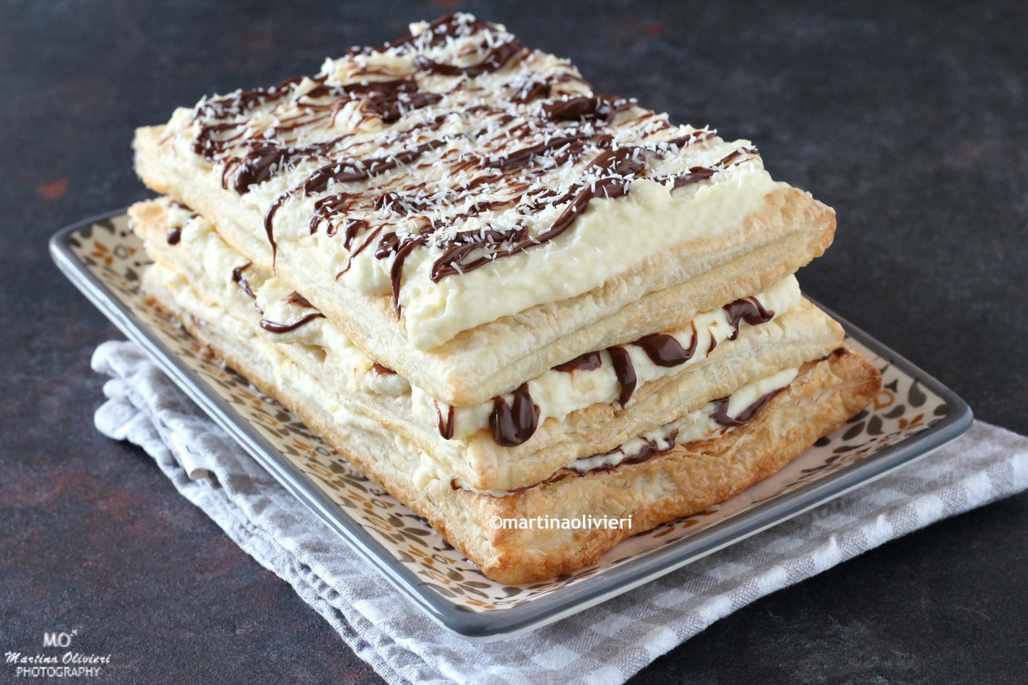 Millefoglie con crema al cocco e cioccolato - Senza glutine e senza lattosio