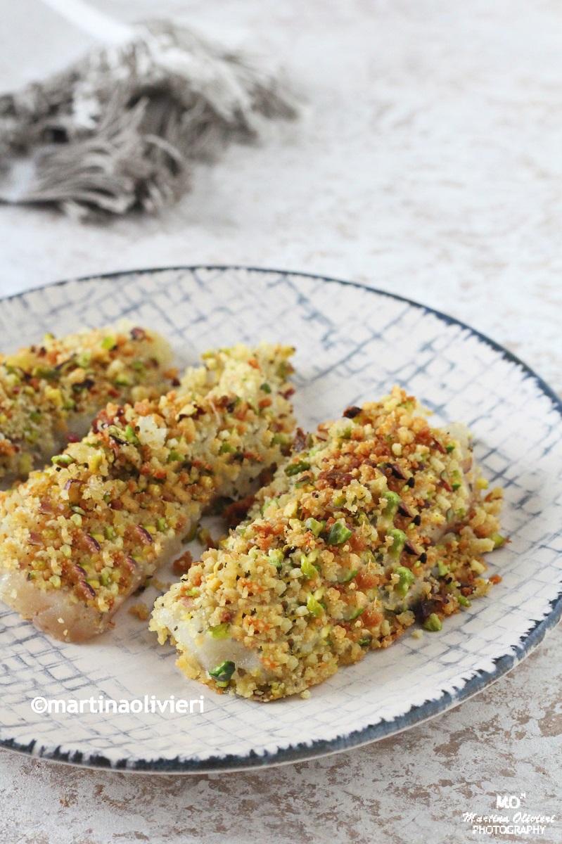 Filetti di merluzzo gratinati con pistacchi