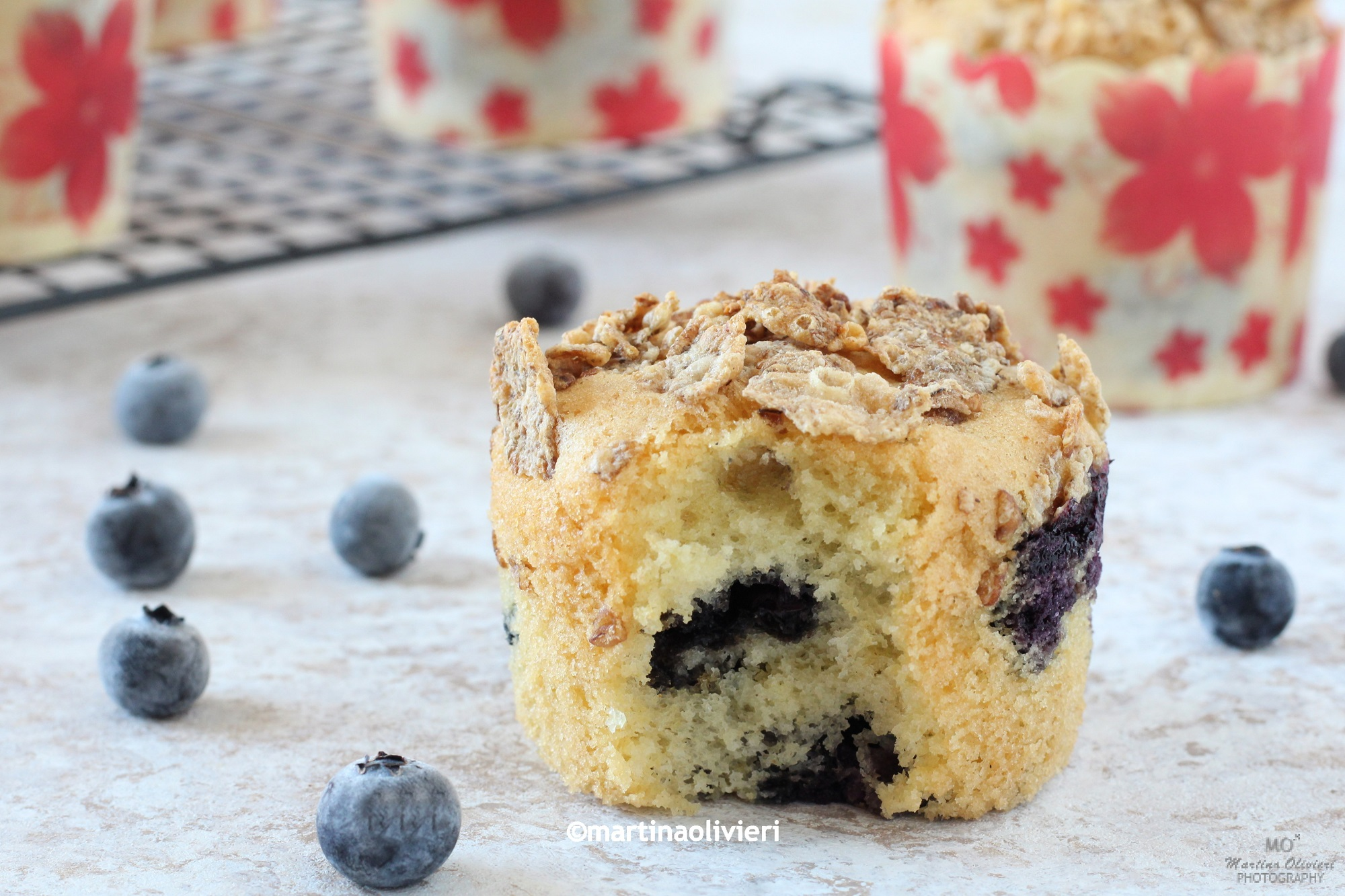 Muffin ai mirtilli e corn flakes