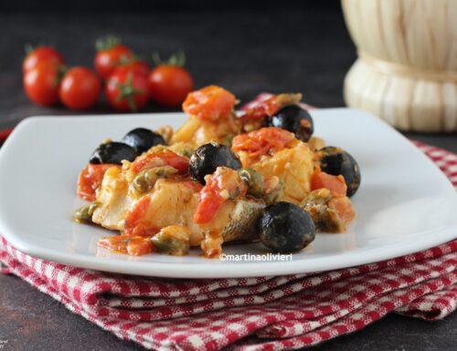 Baccalà con capperi e olive