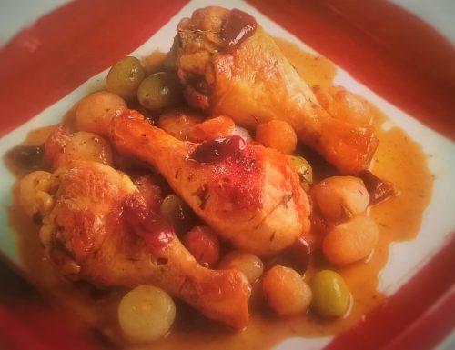 Pollo con cipolline ed uva