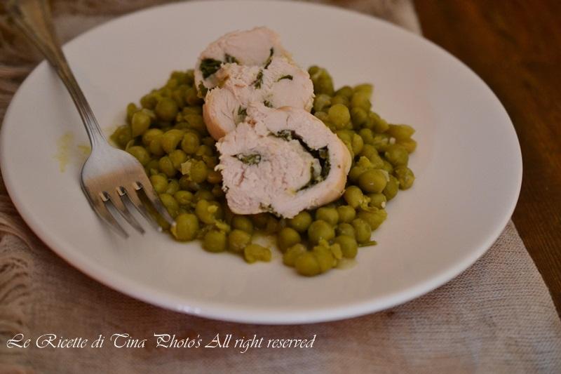 involtini di pollo,pollo con piselli,le ricette di tina,