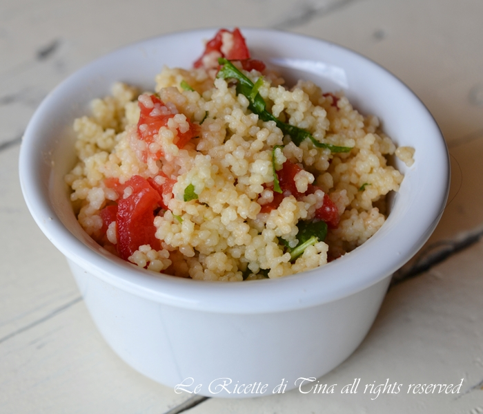 couscous rucola e pomodorini,couscous freddo,insalata di couscous,piatti estivi,primi freddi,le ricette di tina